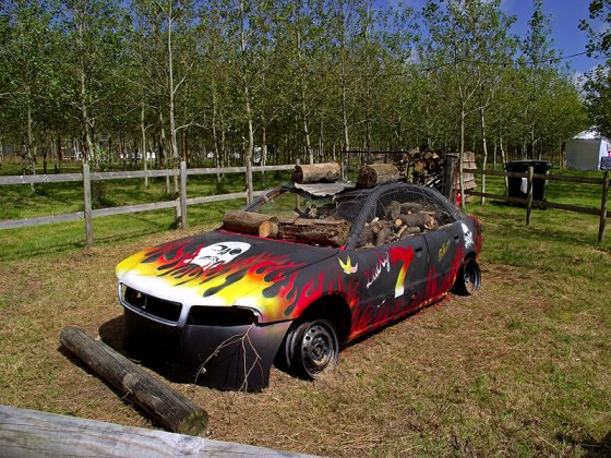 At the first @LEOPALLOOZA festival a car set on fire... it went down well so they made it part of the event. :)