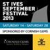 Twitter Bio - Annual September Festival celebrating music and art of all genres. 2012 dates are 8th - 22nd September. http://www.stivesseptemberfestival.c